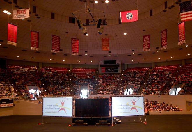 Jackson-Madison County Schools Superintendent Ray Washington addresses JMCSS teachers at Oman Arena, Wednesday, July 31.