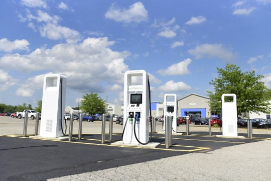 An electric vehicle charging station is now open at the Walmart store off Possum Run Road in Mansfield.