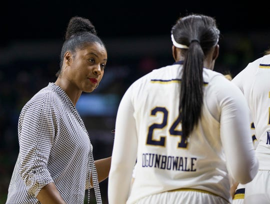 Niele Ivey, left, is the associate head coach and recruiting coordinator for Notre Dame.