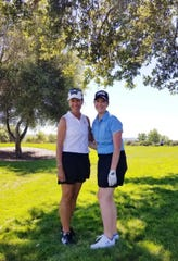 Renata Krieger (right) is pictured with PGA America President Suzy Whaley during the golfing session of KPMG's Future Leaders Program.