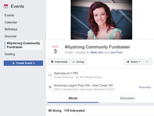 The Facebook event page for the #Lilystrong Community Fundraiser as of July 30.
