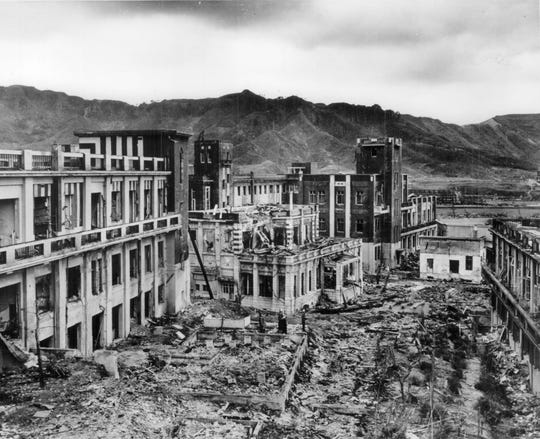 This is how Nagasaki looked four years after the bombing. The single bomb destroyed everything over a 4-mile area.