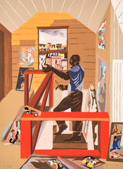 """Jacob Lawrence, The Studio, lithograph on paper, 30"""" x 22.125"""", 1996. © 2019 The Jacob and Gwendolyn Knight Lawrence Foundation, Seattle/Artists Rights Society (ARS), New York"""