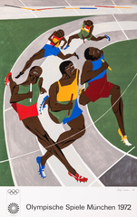 """Jacob Lawrence, Olympic Games, screen print on paper, 42.5"""" x 27.5"""", 1971. © 2019 The Jacob and Gwendolyn Knight Lawrence Foundation, Seattle/Artists Rights Society (ARS), New York"""
