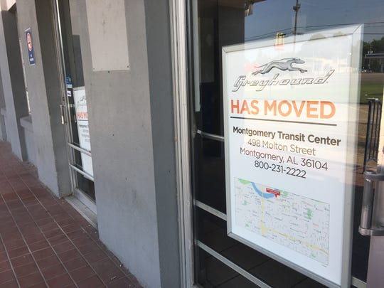 A sign on the former Greyhound facility on South Boulevard directs travelers to the downtown bus terminal.