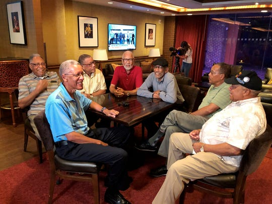 "Seven Davis brothers - Eddie, Frederick, Arguster, Octavious, Nathaniel, Julius and Lebronze  chat during a reunion at a hotel-casino on Friday, July 12, 2019 in Tunica, Miss. In 2017, the Davis men were honored by the National Infantry Museum Foundation. The foundation's president calls their combined military record ""nothing short of remarkable."""
