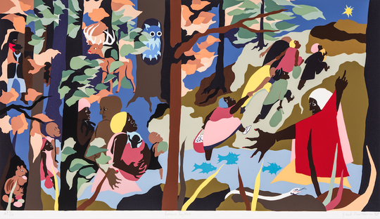 """Jacob Lawrence, Forward Together, silkscreen on paper, 25.5"""" x 40.125"""", 1997. © 2019 The Jacob and Gwendolyn Knight Lawrence Foundation, Seattle/Artists Rights Society (ARS), NewYork"""