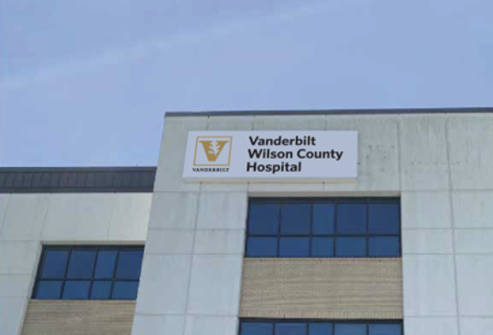 An illustration of future signage for Vanderbilt Wilson County Hospital with the acquisition of Tennova Healthcare - Lebanon by Vanderbilt University Medical Center.