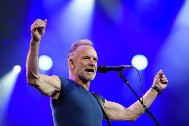 (FILES) In this file photo taken on June 28, 2019, British singer Sting performs on stage during the opening day of the 53th edition of Montreux Jazz Festival. - British singer Sting cancelled a slew of concerts in Europe on July 10, 2019, blaming an unspecified illness for keeping him off the stage since the beginning of the week. Hours after calling off an appearance in Munich, Germany slated for on July 10, 2019 evening, the former Police frontman's website said shows in another German city Stuttgart as well as Slavkov u Brna in the Czech Republic scheduled for July 11 and July 12 would also not go ahead.