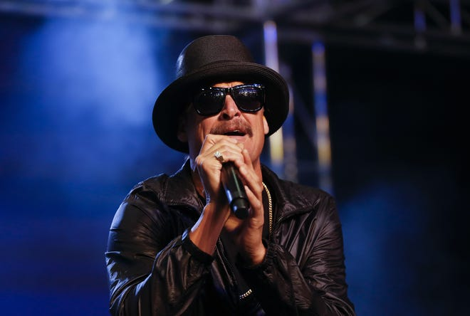 Kid Rock performs during a rally for Republican U.S. Senate candidate John James Oct. 17 in Pontiac, Mich.