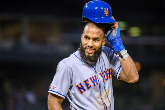 Jul 30, 2019; Chicago, IL, USA; New York Mets shortstop Amed Rosario (1) reacts with his bench after hitting a single during the fourth inning against the Chicago White Sox at Guaranteed Rate Field.