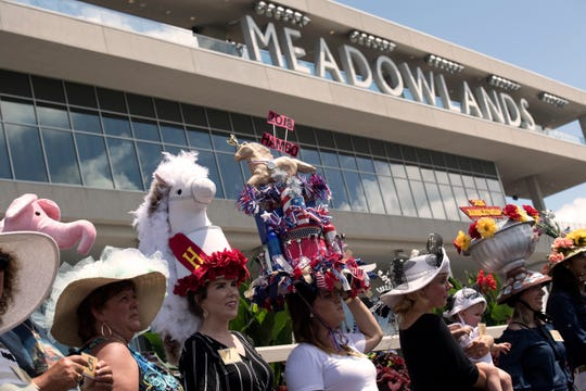 Hat contest at Hambletonian Day at the Meadowlands on Aug. 4, 2018.