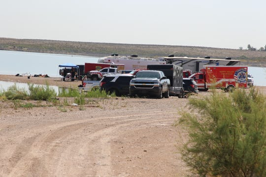 A command post made up of New Mexico State Police, Eddy County Sheriff's Office, Eddy County volunteer fire departments and Eddy County Office of Emergency Management at Brantley Lake State Park search for a drowning victim July 31, 2019.