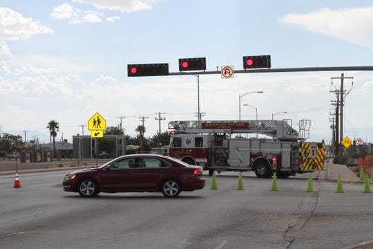 Fire trucks and emergency responders blocked off First Street at the intersection with Cuba Ave. Wednesday afternoon.