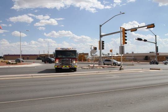 Fire trucks partially blocked off First Street at the intersection with White Sands Blvd Wednesday afternoon.