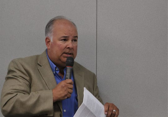 City Manager Rob Mayes addresses the carbon capture questions, Tuesday, July 30, 2019, during a Public Service Company of New Mexico meeting at San Juan College.