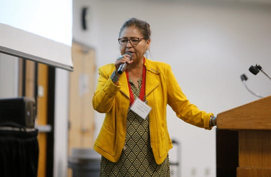 New Mexico Public Regulation Chairwoman Theresa Becenti-Aguilar served as moderator for the panel discussion about telecommunications on tribal lands at the Rural Networks Conference on July 31 at San Juan College in Farmington.