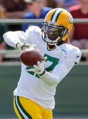 Packers receiver Davante Adams catches a pass during training camp Wednesday at Ray Nitschke Field in Ashwaubenon.