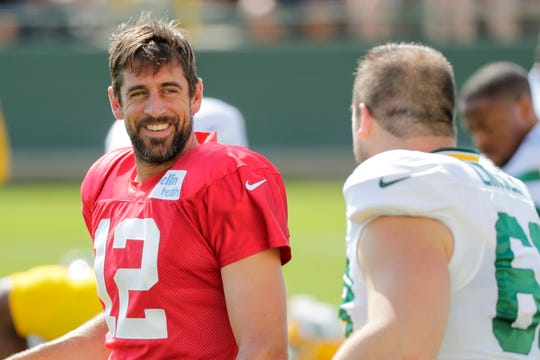Quarterback Aaron Rodgers during Green Bay Packers training camp on July 31.