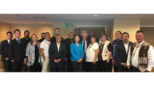 Members of Tribal Council and tribal leaders meet with Bernie Sanders before the Democratic presidential debate on Tuesday night, July 30, 2019.