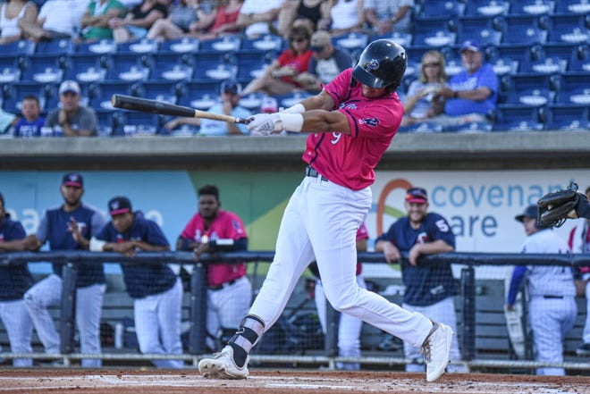Top Minnesota Twins prospect Trevor Larnach bats with Pensacola in an undated photo at Blue Wahoos Stadium.