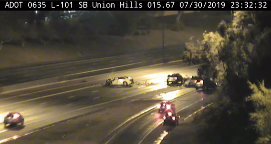 One person died and another was injured in a wrong-way collision on the southbound Loop 101 near Union Hills Drive late Tuesday, July 30, 2019.
