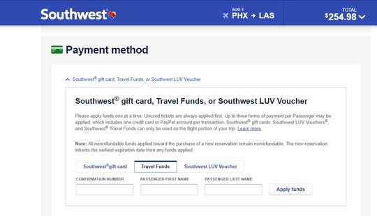 You can apply travel credits when you pay for your future flight on Southwest.com