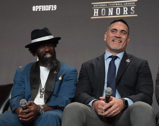 Ed Reed, left, and Kevin Mawae are Pro Football Hall of Fame Class of 2019 inductees. Mawae is a member of ASU's football staff.
