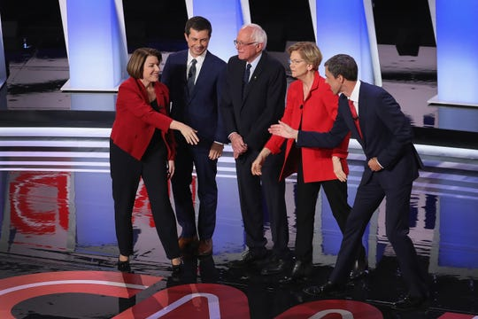 Some of the Democratic presidential candidates at the debate in Detroit. From left, U.S. Sen. Amy Klobuchar of Minnesota, South Bend, Indiana Mayor Pete Buttigieg, Sen. Bernie Sanders of Vermont, Sen. Elizabeth Warren of Massachusetts and former Congressman Beto O'Rourke of Texas.