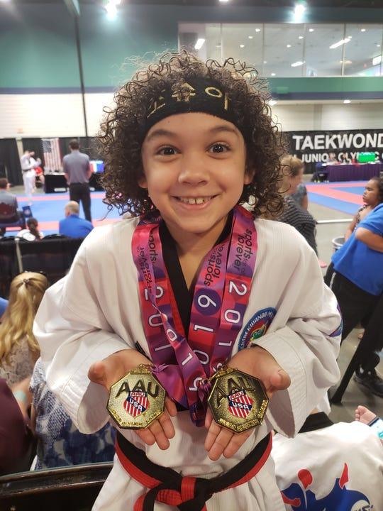Lebanon's taekwondo phenom, Joshua Aguirre, recently returned from North Carolina with five Junior Olympic gold medals.