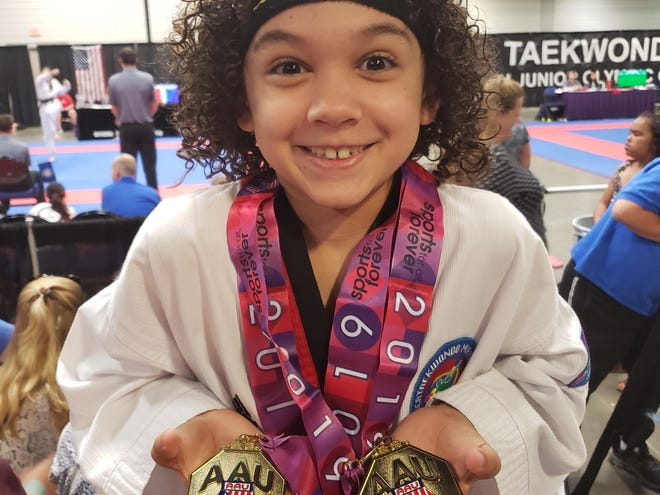 Lebanon's taekwondo phenom, Joshua Aguirre, recently returned from North Carolina with five Junior Olympic gold medals.
