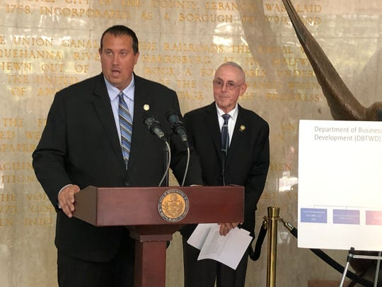 State representatives Seth Grove (left) and Frank Ryan were in Lebanon on Tuesday to unveil a plan to save Pennsylvania taxpayers money without make cuts to the social safety net.