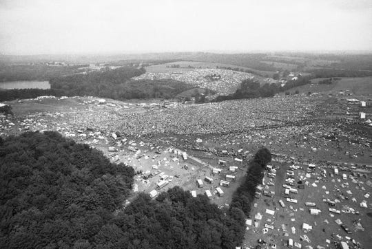 Hundreds of thousands of people descended upon a 600-acre farm for Woodstock in 1969.