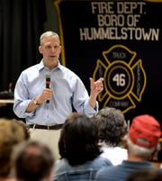 Congressman Scott Perry speaks during a town hall event at Hummelstown Fire Department in Dauphin County Tuesday, July 30, 2019. It was the first in-person town hall by Perry in over two years. Bill Kalina photo