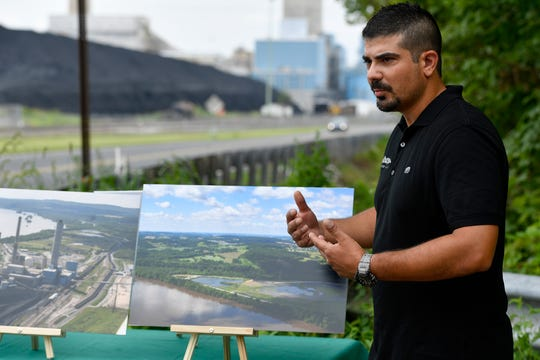 Ted Evgeniadis, Lower Susquehanna River Keeper, announcea a consent decree with Talen Energy that includes a civil penalty, a record $1 million, the closure and excavation of Ash Basin 6 and other concessions. Wednesday, July 31, 2019.