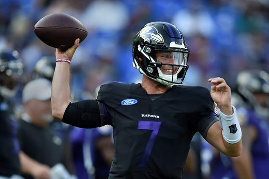 Baltimore Ravens quarterback Trace McSorley throws during NFL football training camp Saturday, July 27, 2019, in Baltimore. (AP Photo/Gail Burton)