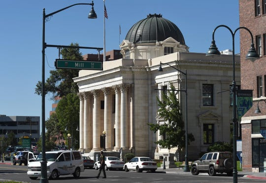Virginia Street is closed in front of the Washoe County Courthouse after an evacuation on Wednesday morning.