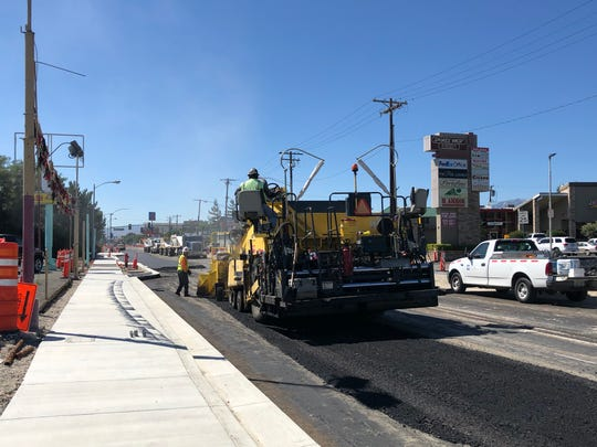 Paving starts on the Virginia Street Project between Plumb Lane and Mount Rose Street on July 31, 2019.