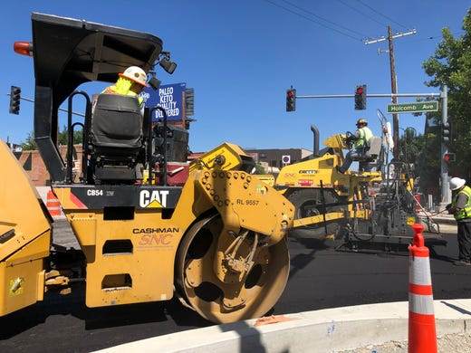 Paving starts on the Virginia Street Project between Plumb Lane and Mount Rose Street.