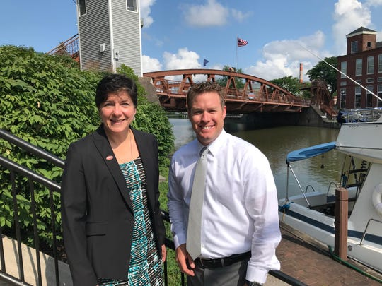 Fairport Mayor Julie Domaratz and Village Manager Bryan White prepare for the Main Street lift bridge to close for up to 15 months for repairs.