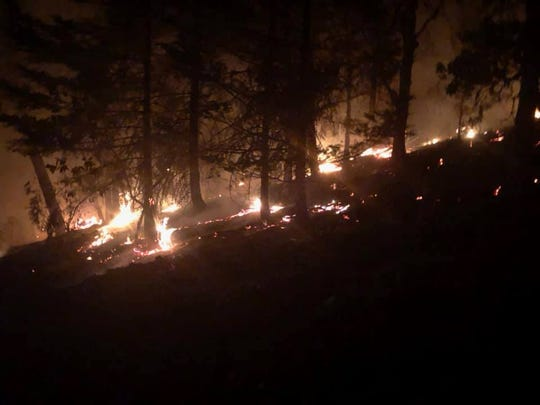 A wildfire burns in the Panther Gulch area of the Applegate Valley.