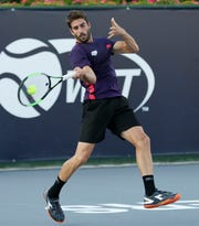 Enrique Lopez Perez was in top form in his match against Noah Rubin.