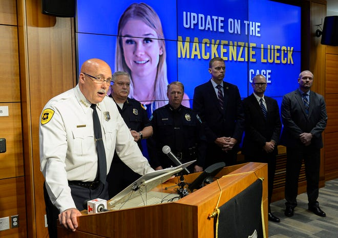 """FILE - In this June 28, 2019, file photo, Salt Lake City Police Chief Mike Brown speaks at a news conference, in Salt Lake City. Authorities investigating the death of Utah college student Mackenzie Lueck have searched dating sites for both her and the man charged in her death. Court documents outlining evidence gathered against 31-year-old tech worker Ayoola Ajayi include a search of the site Seeking Arrangement, which bills itself as a way for wealthy """"sugar daddies"""" to meet women known as """"sugar babies."""" The document shows authorities also searched Tinder, Instagram, Snapchat and Facebook. It doesn't detail what evidence was found. Police and prosecutors have not said how the two met or disclosed a motive for the killing. They would not comment Tuesday, July 30, 2019. (Francisco Kjolseth/The Salt Lake Tribune via AP, File)"""