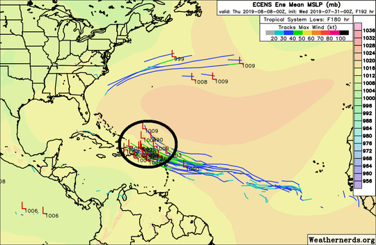 Shown are the European Ensemble model tracks through next Wednesday evening.