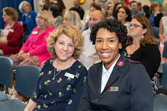 Kim Johnson, left, and Sheena Marquis with Salvation Army of Martin County at the grant award program by the United Way of Martin County.