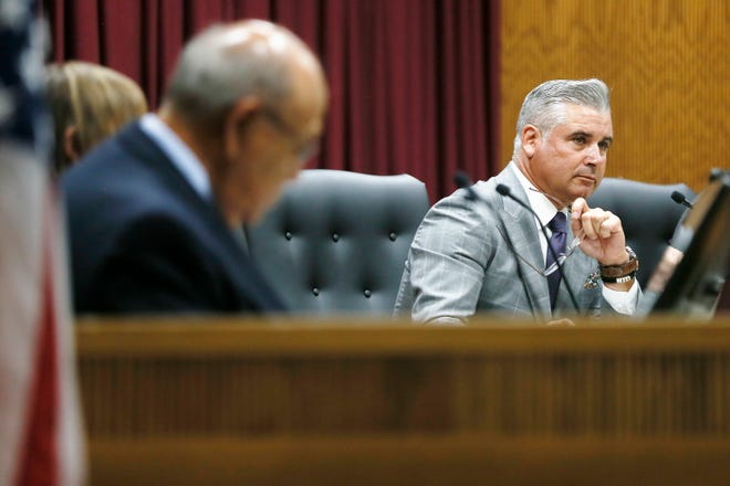 District Superintendent Xavier De La Torre during a special meeting of Ysleta Independent School District board of trustees Tuesday, July 30, to discuss a superintendent personnel issue at YISD central administration building in El Paso.