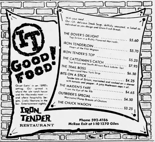 Iron tender menu.