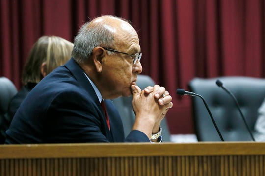 Trustee Mike Rosales during a special meeting of Ysleta Independent School District board of trustees Tuesday, July 30, to discuss a superintendent personnel issue at YISD Central administration Building in El Paso.