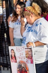 Lorena de Salazar, mother of Keyla Salazar, was joined by family and friends at Ace Empower Academy to remember Keyla, one of the victims of the shooting at the 2019 Gilroy Garlic Festival on Sunday.