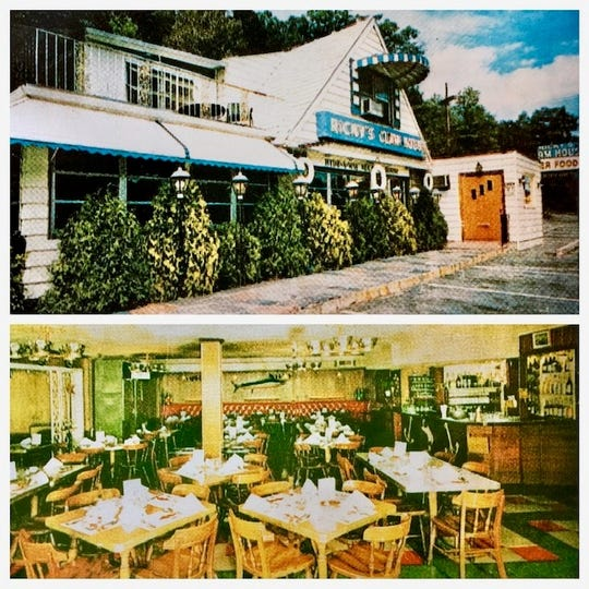 Exterior, top, of the former Ricky's Clam House, located on Central Avenue in Yonkers; below, the dining room.